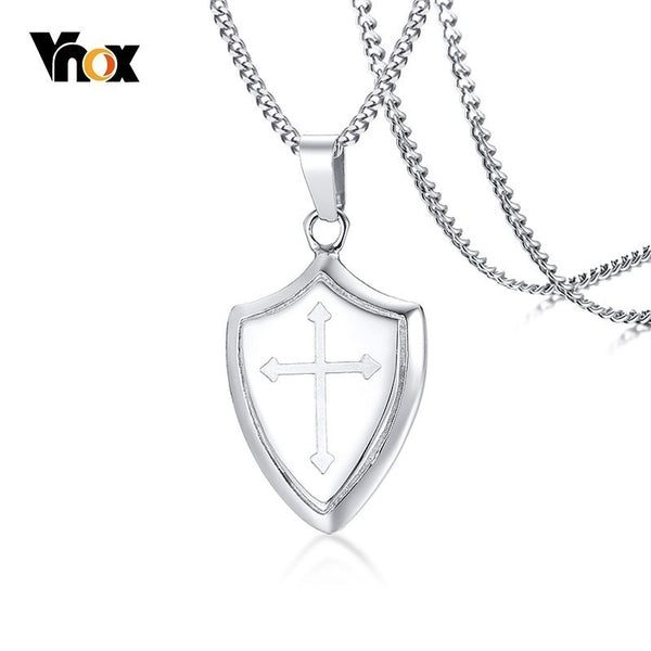 Vnox Mens Stainless Steel Shield of Faith Engraved Joshua 1:9b Armor of God Cross Pendant Necklace Prayer Accessories