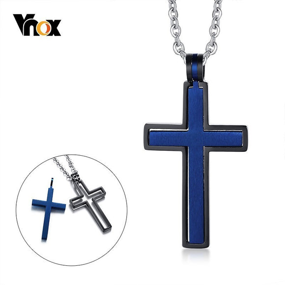Vnox Stylish Remove Cross Pendant Necklaces for Women Man Stainless Steel Faith Prayer colar