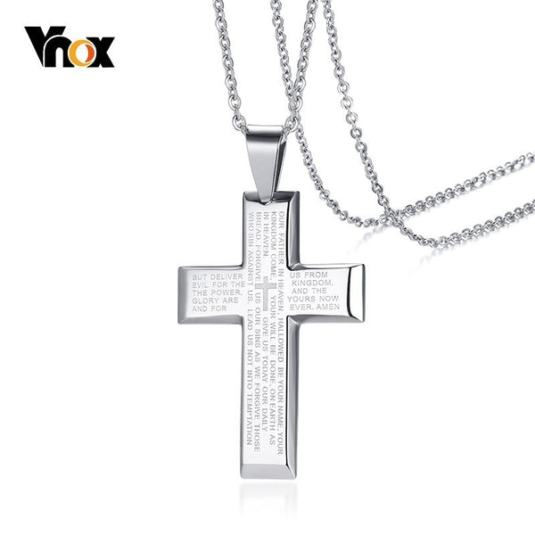 Vnox Cross Pendant for Men Necklace Stainless Steel Engraved Bible Matthew 6:9-13 Christian Prayer Jewelry