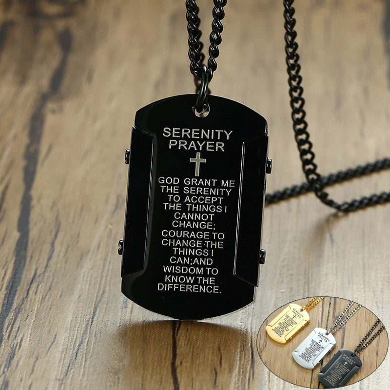 Vnox The Serenity Prayer Dog Tag Necklaces for Men Women Black Gold and Silver Color Stainless Steel colar masculino