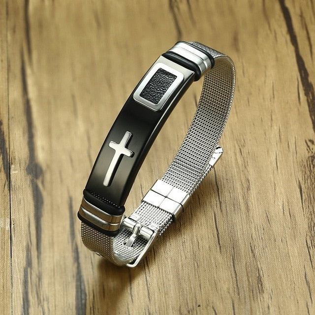 Vnox Adjustable Length Bracelet for Women Men Bangle Watch Band Design Stainless Steel Net Band Christ Cross Prayer Male Jewelry