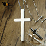 Vnox Unique Side Engraved Bible Cross Pendant Philippians I CAN DO ALL THINGS Necklace for Women Men Stainless Steel Jesus Jewel
