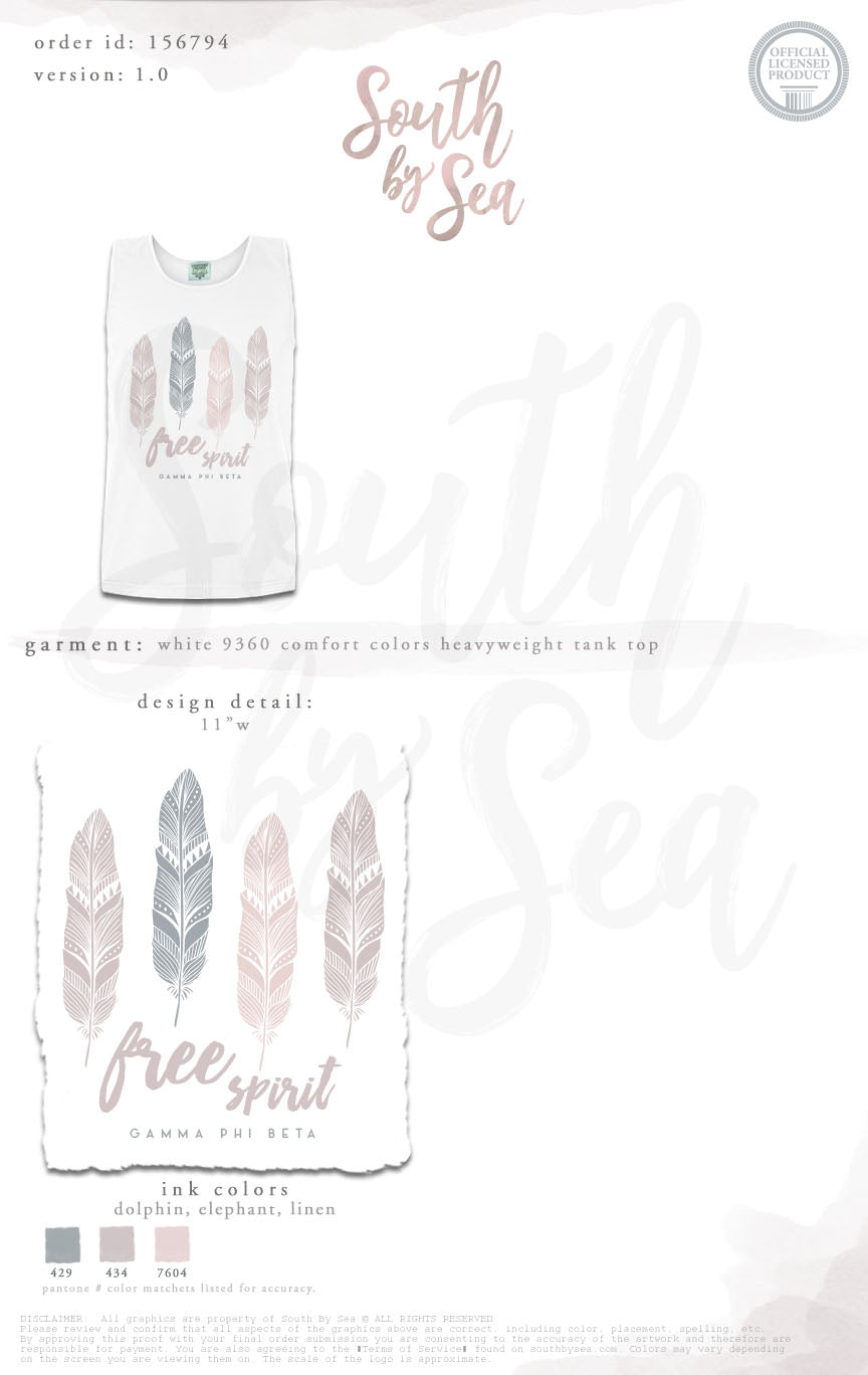 LAST CHANCE| 156794 | Gamma Phi Beta Free Spirit Feathers