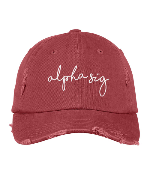 LAST CHANCE | 169588 Alpha Sigma Alpha Distressed Hat