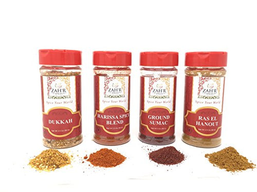 Zah'r Spices North African Four Spice Variety Pack - Harissa, Ground Sumac, Ras El Hanout and Dukkah Variety Pack