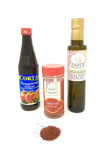 Zah'r Spices Middle Eastern Fattoush Salad Set - Ground Sumac, Pomegranate Molasses and Extra Virgin Olive Oil