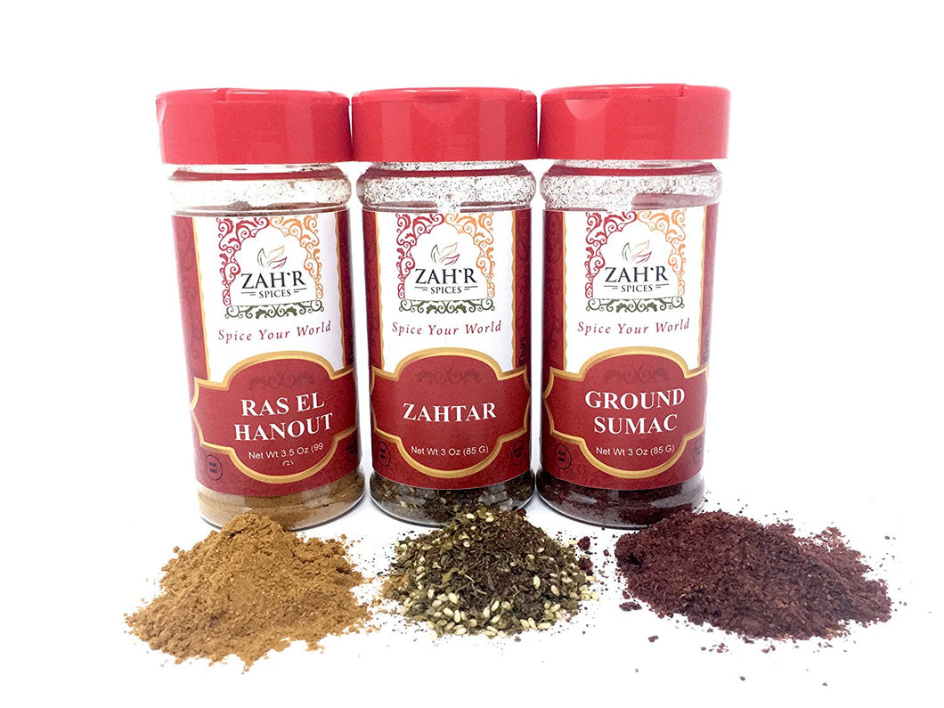 Zah'r Spices Moroccan Spice Trio: Zahtar, Ground Sumac and Ras El Hanout Variety Pack
