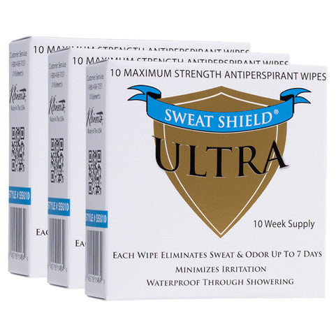 Sweat Shield Ultra Antiperspirant Wipes. Stop Sweating & Odor For Up To 7 Days. 30 Week Supply- Doctor Recommended - kleinerts.com