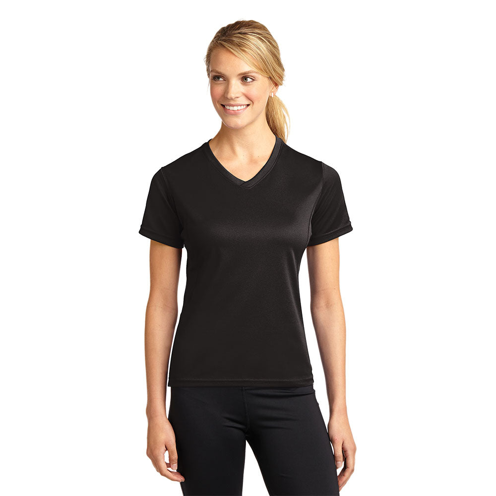 Ladies Dri-Mesh V-Neck Moisture Wicking V-Neck Tee Style #L468V With or Without Protective Underarm Shields