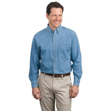 Long Sleeved Men's Denim Shirt With Underarm Shields Style # S600 - kleinerts.com