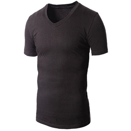 "1"" Deeper V-Neck Sweat-Resistant Undershirt (W/O Underarm Shields)  Great For Chest/Back Sweating"