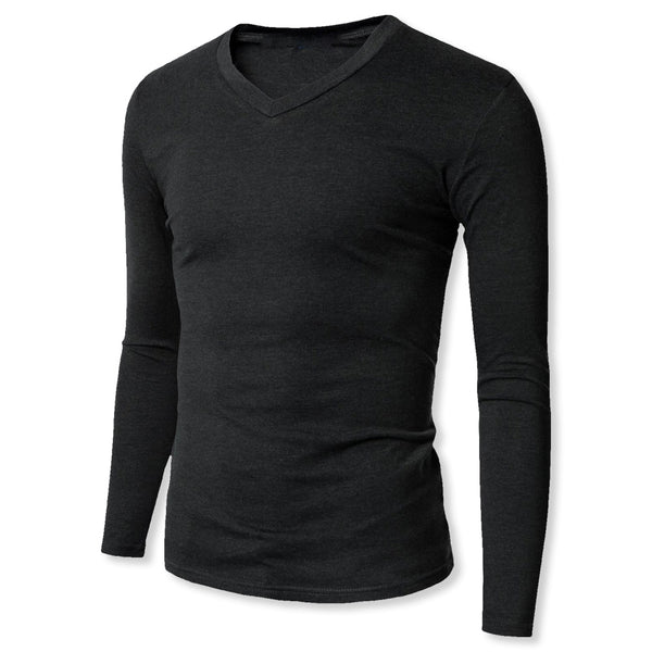 V-Neck Long Sleeve Sweat-Resistant Undershirt With Medium Sized Sweat-Proof Underarm Shields. Great For Chest/Back Sweating - kleinerts.com
