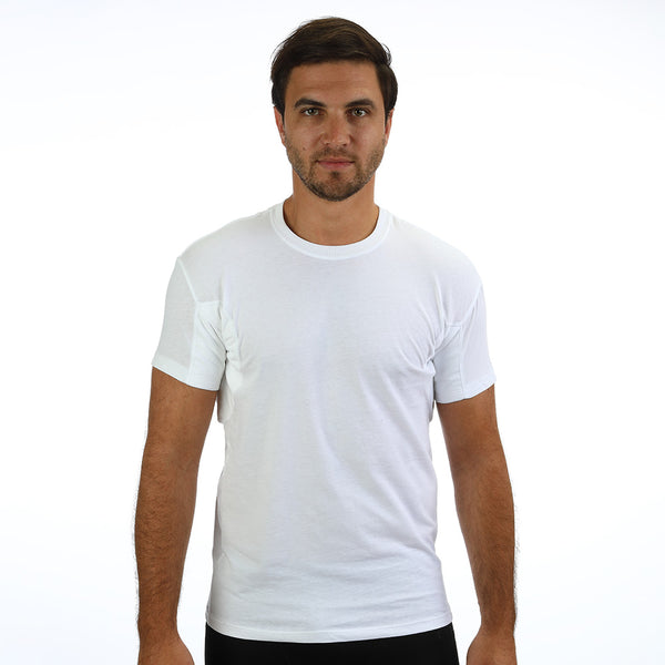 Regular Fit Crew Neck Undershirt With Absorbent, Sweat-Proof, Enlarged, Sewn-In Underarm Shields Style #RSC02 - kleinerts.com