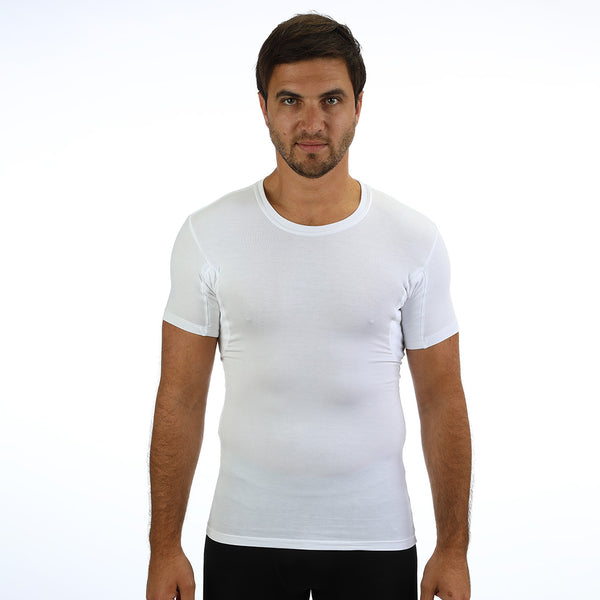 Men's Slim Fit Crew Neck Tencel /Spandex Luxury Undershirt With Absorbent, Sweat-Proof, Enlarged, Sewn-In Underarm Shields Style #BSM02 - kleinerts.com