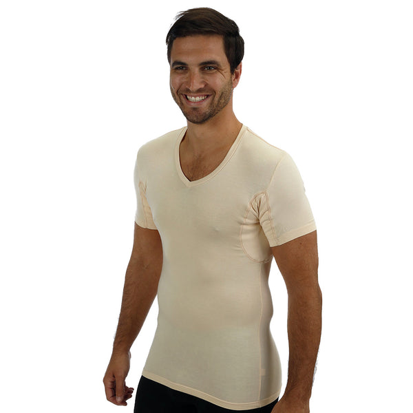 Men's Slim Fit V-Neck Tencel/Spandex Luxury Undershirt With Absorbent, Sweat-Proof, Enlarged, Sewn-In, Underarm Shields Style #BSM04 - kleinerts.com
