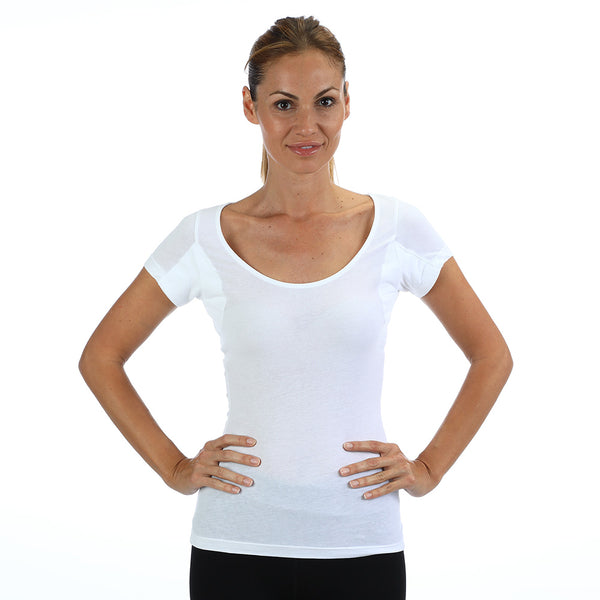 Women's Lightweight 100% Cotton Scoop Neck Undershirt With Absorbent, Sweat-Proof, Enlarged, Sewn-In, Underarm Shields Style #RSCW2