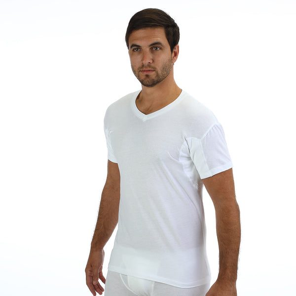 Men's Regular Fit V-Neck Undershirt With Absorbent, Sweat-Proof, Enlarged, Sewn-In Underarm Shields