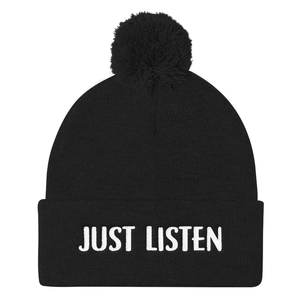 Just Listen Pom Pom Knit Cap