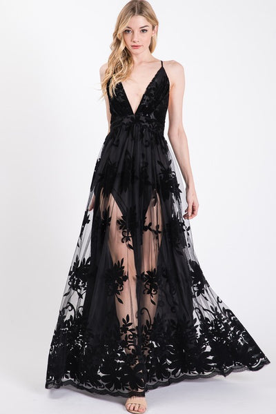 Valencia Velvet Lace Maxi Dress