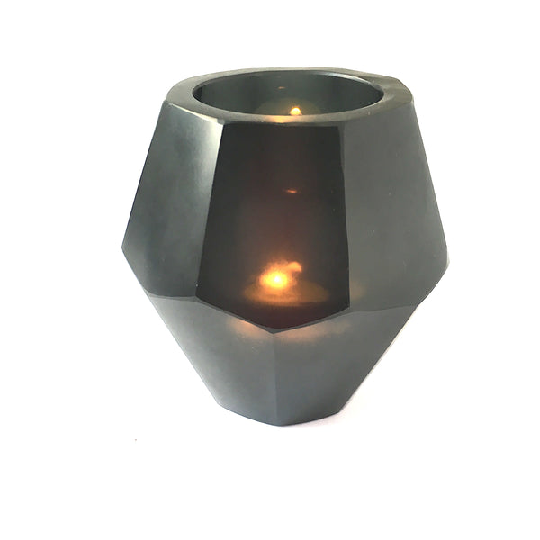 Candle Holder - Okhto Handcut Black Glass