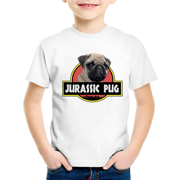 TEEHEART Boys/girls's Modal T-shirt Pug Print 18M-10T Summer Children Casual Clothing TA272