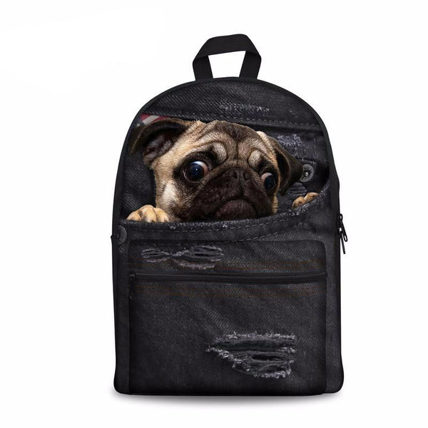 Pug Denim Black Backpack