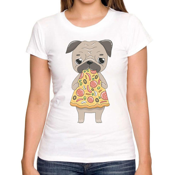 Pug Lovin Pizza Ladies T-Shirt