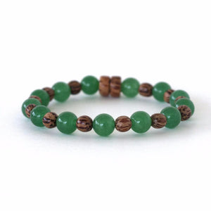 Heart Chakra Spiritual Warrior Natural Crystal Stretch Bracelet with Green aventurine and palm wood beads.