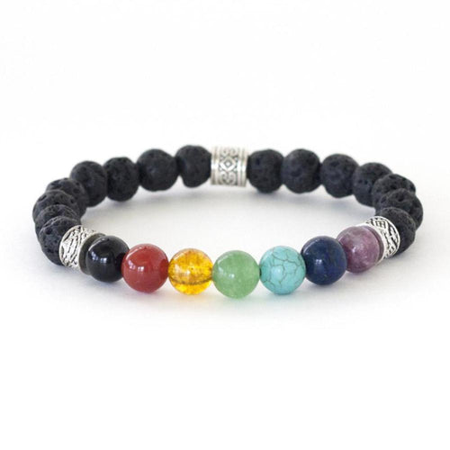 Seven Chakra healing crystal energy stretch bracelet made by hand with lava rock, rhodonite, lapis lazuli, turquoise, green aventurine, citrine, carnelian and black onyx.