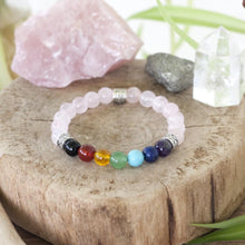 Heart centered chakra stretch bracelet with amethyst, lapis lazuli, turquoise, green aventurine, citrine, carnelian and black onyx for all seven chakras