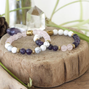 crystal healing stretch bracelet set of howlite, rose quartz and amethyst for true tranquility. Great gift set!