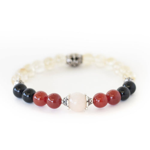 Grieving, remembrance crystal healing bracelet with opal, citrine, black onyx and red carnelian.