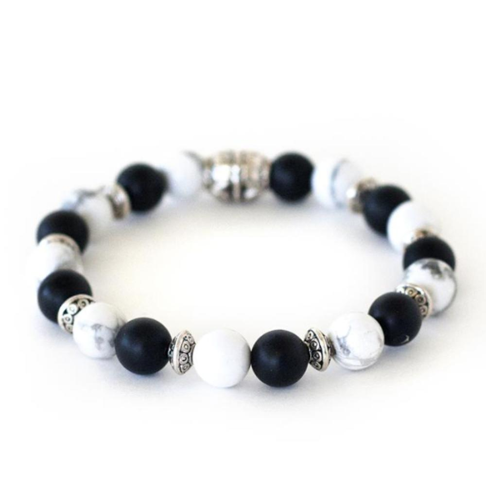howlite and onyx crystal healing chakra stretch bracelet