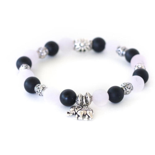 Crystal healing rose quartz, black onyx in a stretch bracelet benefiting the non-profit Save Elephant Organization
