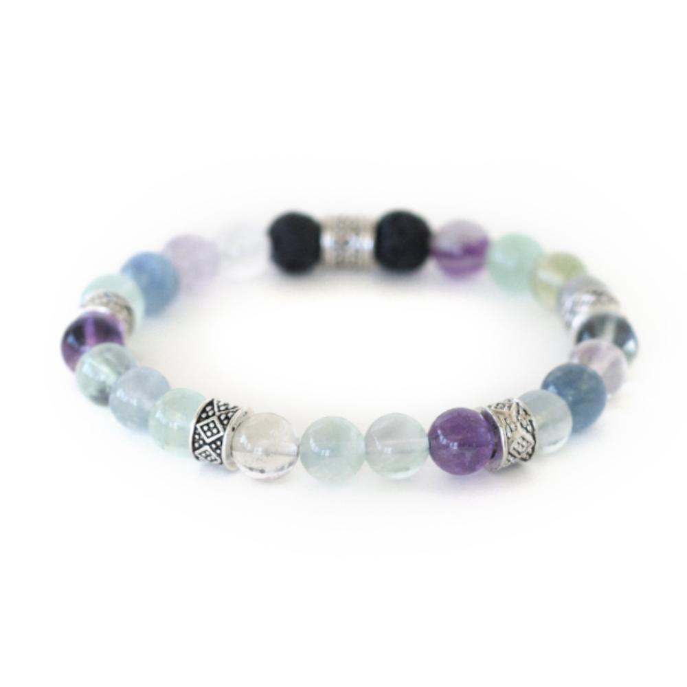 Chakra crystal healing bracelet of fluorite and lava stone offer increased self confidence, focus and grounding.