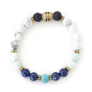 chakra crystal healing bracelet of howlite, amazonite, lapis lazuli, turquoise and lava stone create a feeling of inner peace.