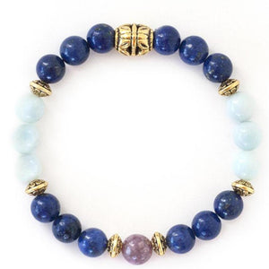 Lapis lazuli, rhodonite and Amazonite healing energy crystals in this stretch bracelet with gold beads. Perfect gift for the over thinker!