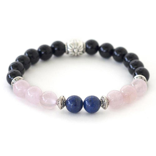 Crystal healing energy bracelet of lapis lazuli, rose quartz and black onyx offer calming peaceful energy.