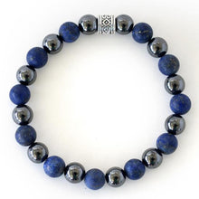 lapis lazuli and hematite Healing energy crystals form this powerful stretch bracelet for ultimate pain relief