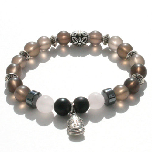 Smoky quartz, hematite and rose quartz healing crystals in this stretch bracelet with a buddha charm