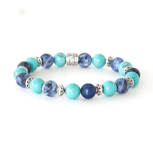 Anti-anxiety stress relief crystal bracelet. Handmade with turquoise and sodalite. Created by CalmerSpirit.com