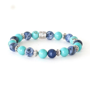Anxiety Relief Crystal Healing Bracelet | Sodalite and Turquoise Bead Bracelet | Yoga Gifts for Her
