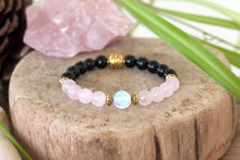 Remembrance Grieving Bracelet |  Rose Quartz Jewelry | Moonstone Beads | Black Onyx Stones