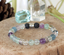 Stress Reducer Bracelet | Fluorite Healing Crystal Bracelet | Communication Bracelet | Essential Oil Diffuser