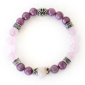Stress Relief Bracelet | Lepidolite Crystal Bracelet | Rose Quartz Gemstones | Anxiety Relief | Calming Bracelet