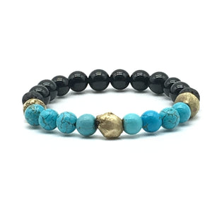 Turquoise Beaded Bracelet with| Handmade African Brass Beads