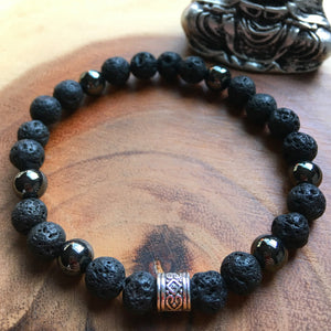 Protection Bracelet | Men's Lava and Magnetic Hematite Bracelet | Essential Oil Diffuser | Unisex Crystal Bracelet
