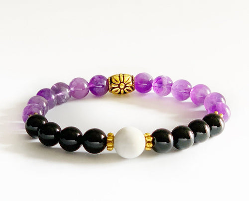 Chronic Pain Relief Crystal Healing Bracelet | Amethyst Crystals | Howlite Beads | Arthritis Pain