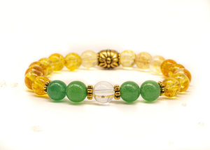 Wealth Bracelet | Money Attractor Jewelry | Citrine Bracelet | Green Aventurine Gemstones | Law of Attraction