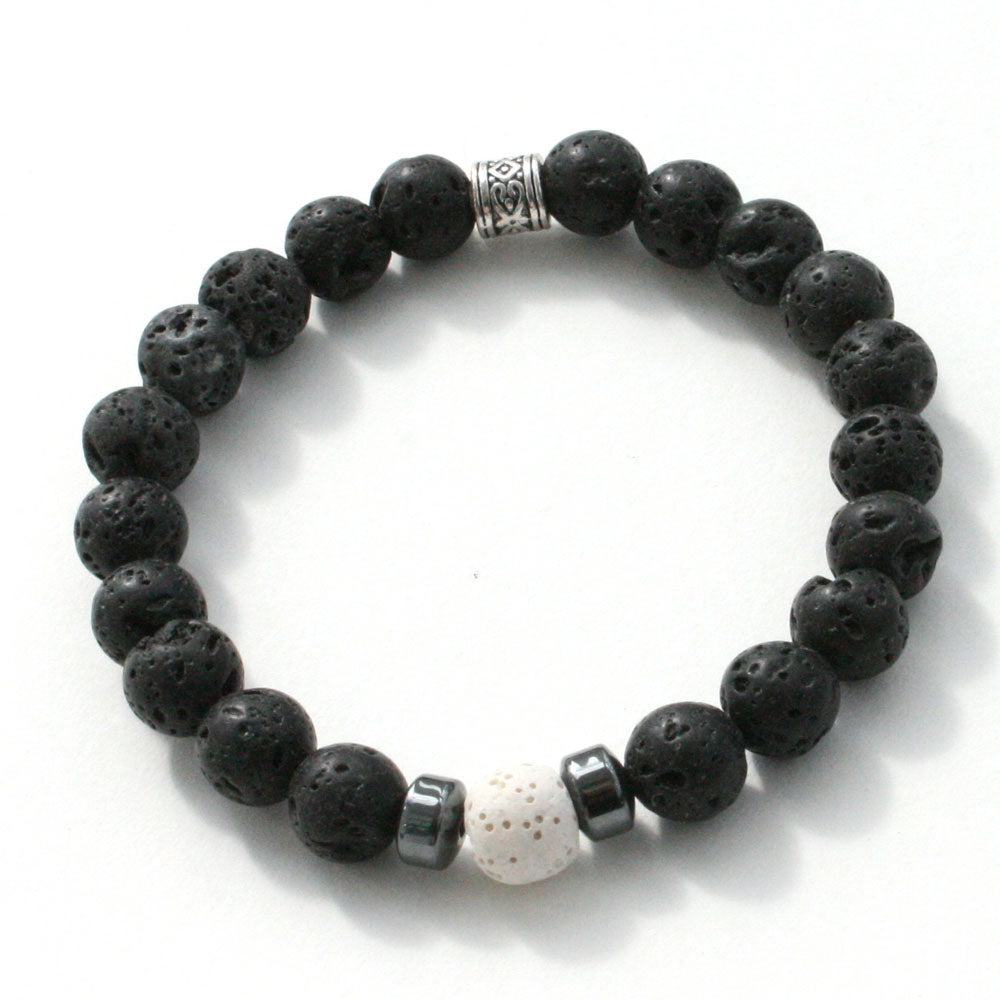 healing hematite and lava stones for infusing essential oils creates this men energy stretch bracelet